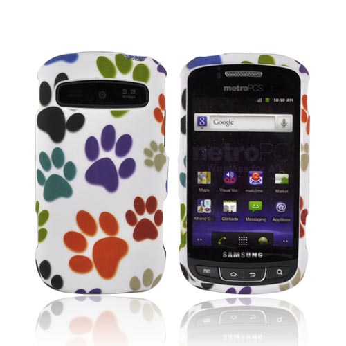 Samsung Rookie R720 Rubberized Hard Case - Multi-Color Paw Prints on White