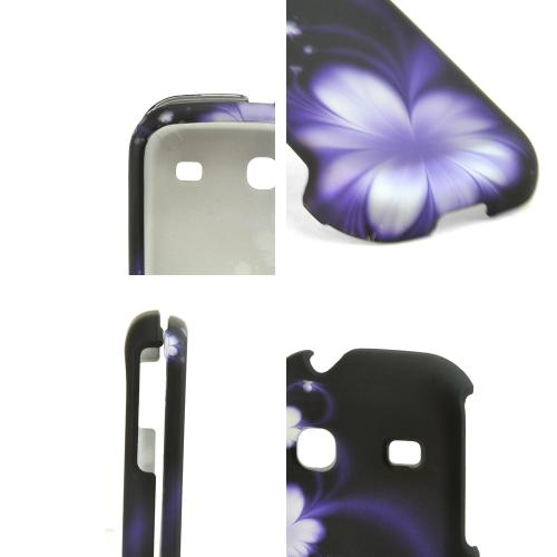 Samsung Gravity TXT T379 Rubberized Hard Case - Purple Flowers on Black