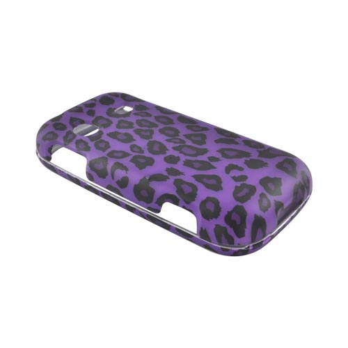 Samsung Gravity TXT T379 Rubberized Hard Case - Purple/ Black Leopard