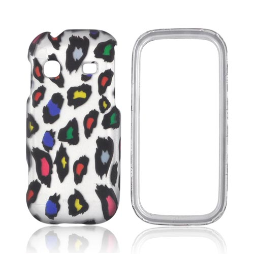 Samsung Gravity TXT T379 Rubberized Hard Case - Rainbow Leopard on Silver