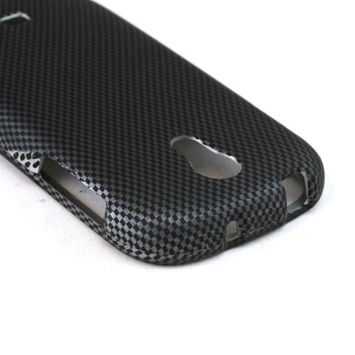 Black/ Grey Carbon Fiber Design Rubberized Hard Case for Samsung Galaxy Light