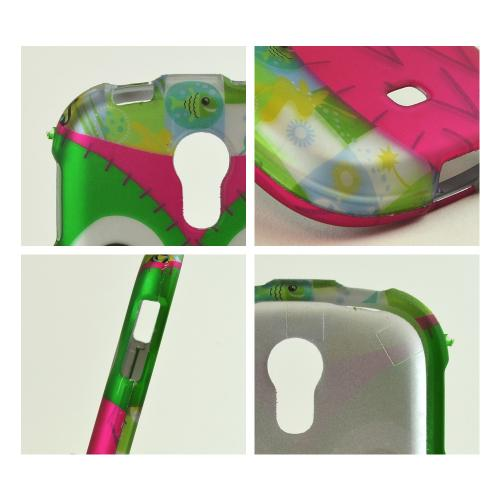 Hot Pink / Green Owl Rubberized Hard Case for Samsung Galaxy Light