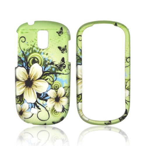 Samsung Gravity Smart Rubberized Hard Case - White Hawaiian Flowers on Green