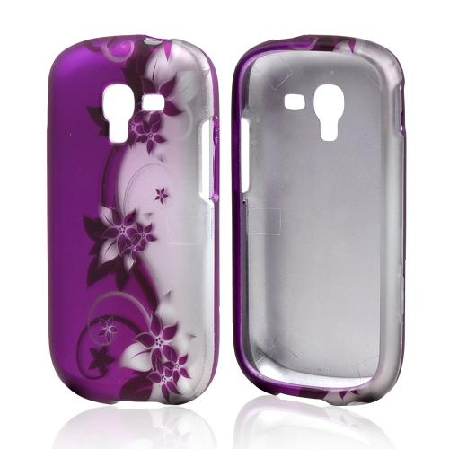 Purple Vines on Silver/ Purple Rubberized Hard Case for Samsung Galaxy Exhibit