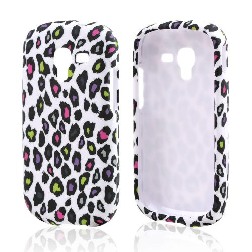 Rainbow Leopard on Black Rubberized Hard Case for Samsung Galaxy Exhibit