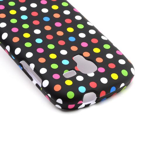 Rainbow Polka Dots on Black Rubberized Hard Case for Samsung Galaxy Exhibit