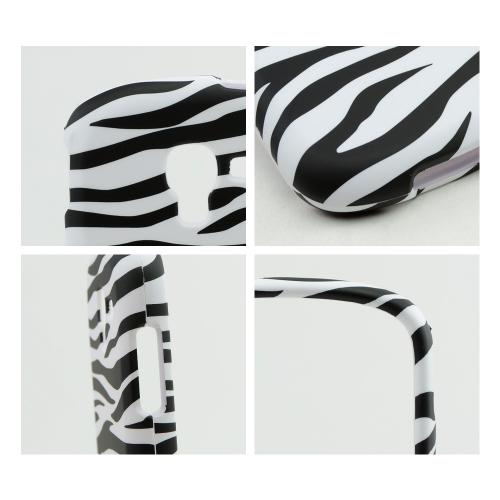 Black Zebra on White Rubberized Hard Case for Samsung Galaxy Exhibit