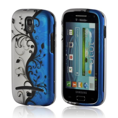 Black Vines on Silver/ Blue Rubberized Hard Case for Samsung Galaxy S Relay 4G
