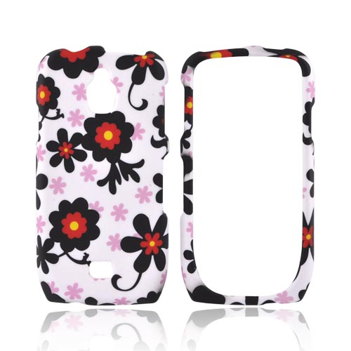 Samsung Exhibit T759 Rubberized Hard Case - Black Daisies on White