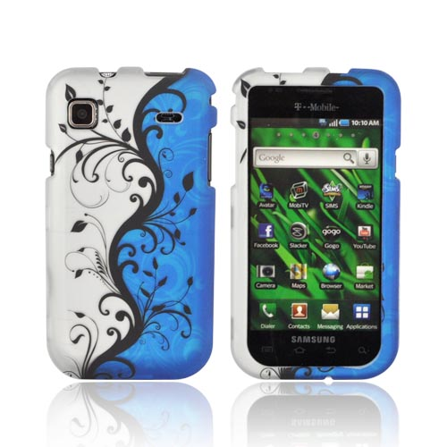 Samsung Vibrant/ Galaxy S 4G Rubberized Hard Case - Black Vines on Blue/ Silver