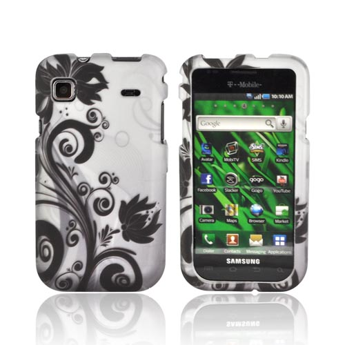 Samsung Vibrant T959/ Galaxy S 4G Rubberized Hard Case - Black Vines & Flowers on Silver