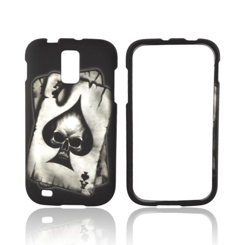 T-Mobile Samsung Galaxy S2 Rubberized Hard Case - Ace Skull on Black