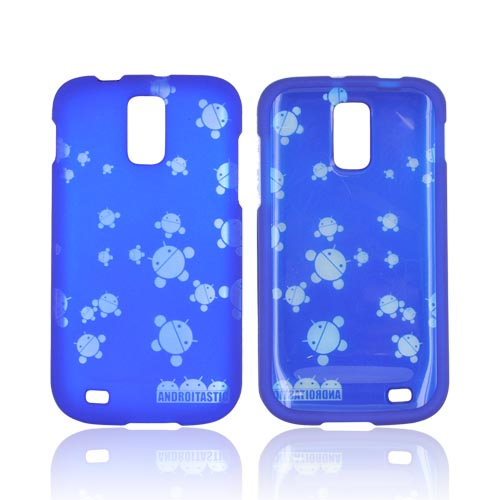 T-Mobile Samsung Galaxy S2 Androitastic Rubberized Hard Case - Blue Bubble Bot Invasion