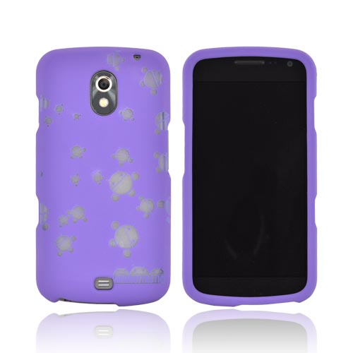 T-Mobile Samsung Galaxy S2 Androitastic Rubberized Hard Case - Purple Bubble Bot Invasion