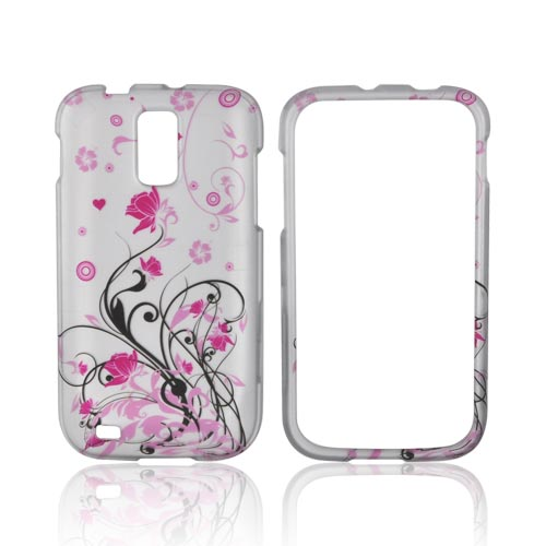 T-Mobile Samsung Galaxy S2 Rubberized Hard Case - Hot Pink Flowers & Black Vines on Silver