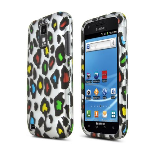 T-Mobile Samsung Galaxy S2 Rubberized Hard Case - Rainbow Leopard on Silver