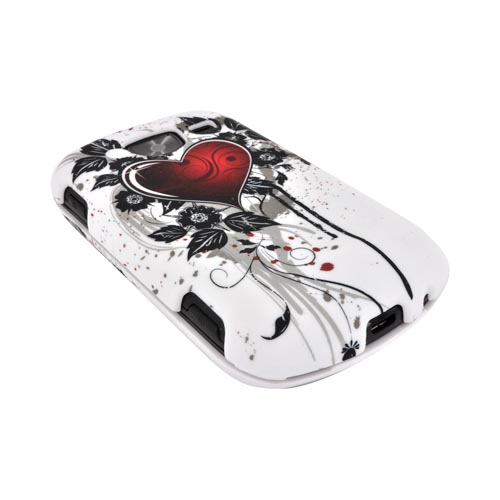 Samsung Brightside U380 Rubberized Hard Case - Red Heart & Black Leaves on White