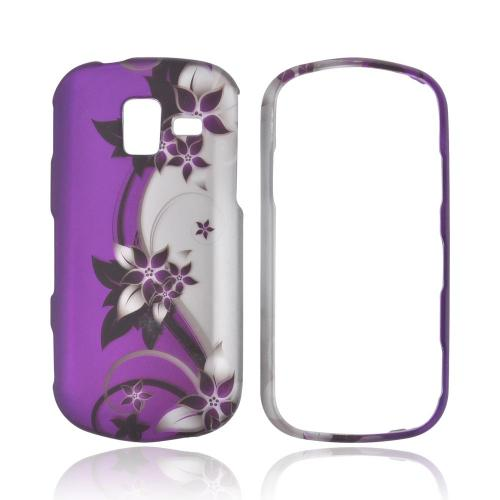 Samsung Intensity III Rubberized Hard Case - Purple Vines/ Flowers on Silver