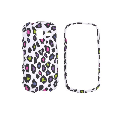 Samsung Intensity III Rubberized Hard Case - Rainbow Leopard on White