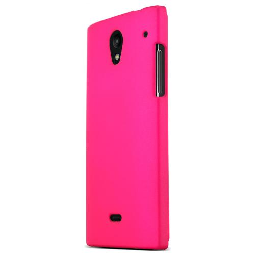 Sharp Aquos Crystal Protective Rubberized Hard Case - Anti-Slip Matte Rubber Material [Slim and Perfect Fitting Sharp Aquos Crystal Case] [Hot Pink]