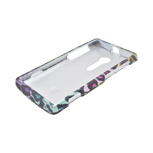 Sony Xperia Ion T28i Rubberized Hard Case - Multi-Colored Artsy Leopard