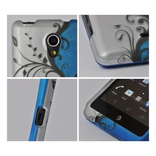 Black Vines on Blue/ Silver Rubberized Hard Case for Sony Xperia TL
