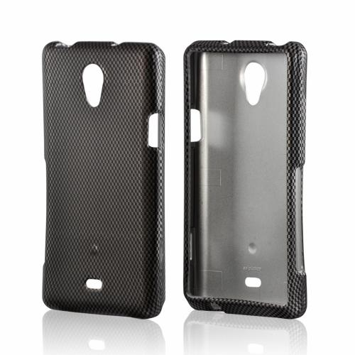 Black/ Gray Carbon Fiber Design Rubberized Hard Case for Sony Xperia TL
