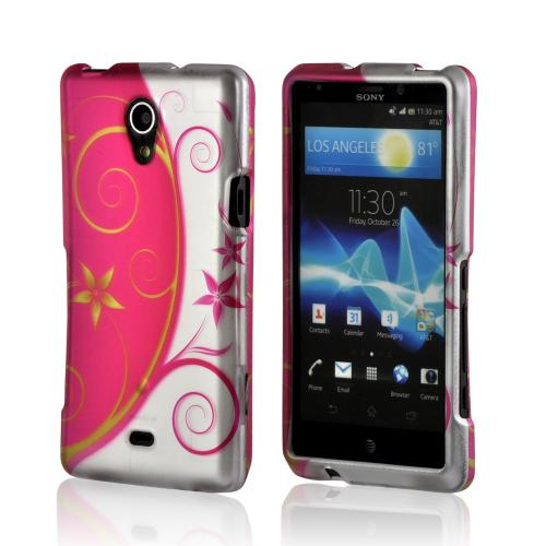 Hot Pink/ Silver Vines & Flowers Rubberized Hard Case for Sony Xperia TL
