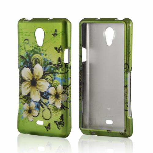 White Hawaiian Flowers on Green Rubberized Hard Case for Sony Xperia TL