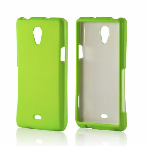 Neon Green Rubberized Hard Case for Sony Xperia TL