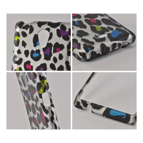 Rainbow Leopard on Silver Rubberized Hard Case for Sony Xperia TL