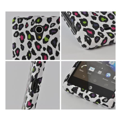 Rainbow Leopard on White Rubberized Hard Case for Sony Xperia TL