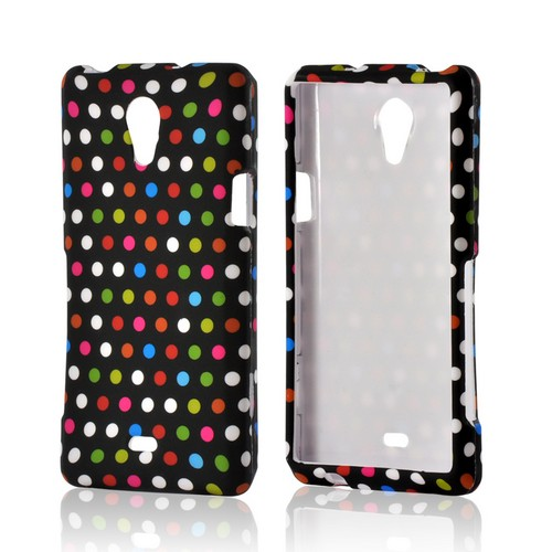 Rainbow Polka Dots on Black Rubberized Hard Case for Sony Xperia TL