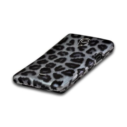 Blue/ Black Leopard Rubberized Hard Case for Sony Xperia TL