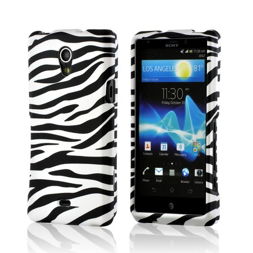 White/ Black Zebra Rubberized Hard Case for Sony Xperia TL