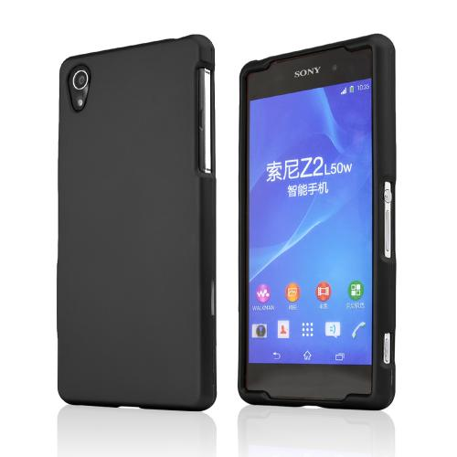Black Sony Xperia Z2 Rubberized Hard Case Cover, Great Basic Protection!