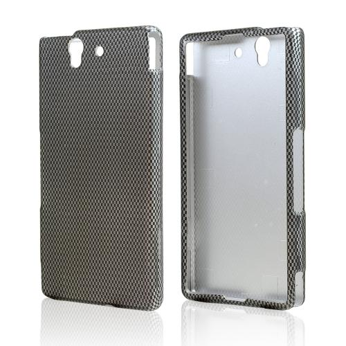 Black/ Gray Carbon Fiber Design Rubberized Hard Case for Sony Xperia Z
