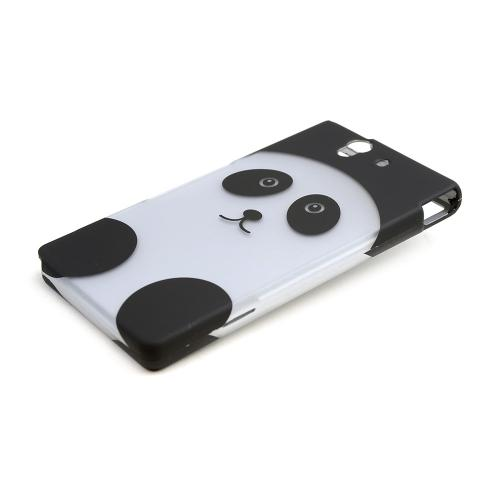 Silver/ Black Panda Bear Rubberized Hard Case for Sony Xperia Z