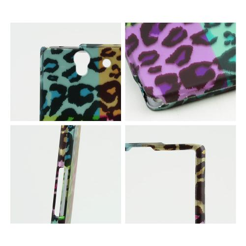 Multi-Colored Artsy Leopard Rubberized Hard Case for Sony Xperia Z