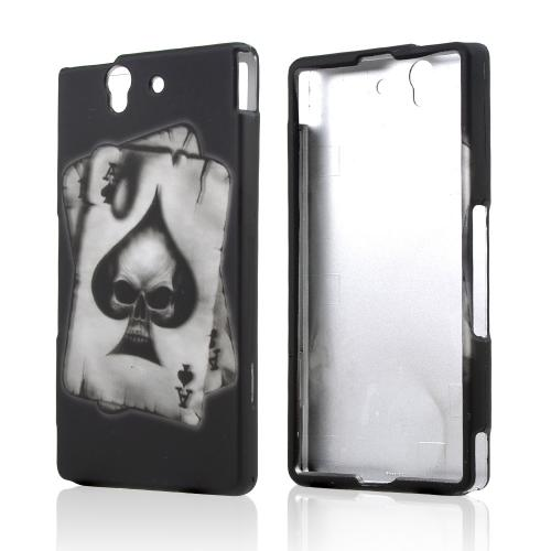 Ace Spade Skull on Black Rubberized Hard Case for Sony Xperia Z