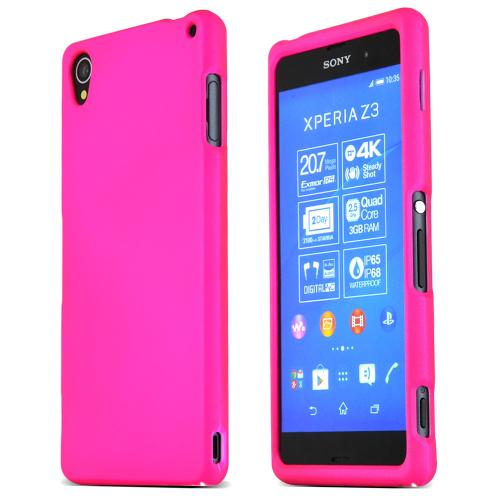 Sony Xperia Z3 Protective Rubberized Hard Case - Anti-Slip Matte Rubber Material [Slim and Perfect Fitting Sony Xperia Z3 (2014) Case] [Hot Pink]