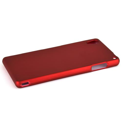 Sony Xperia Z3 Protective Rubberized Hard Case - Anti-Slip Matte Rubber Material [Slim and Perfect Fitting Sony Xperia Z3 (2014) Case] [Red]