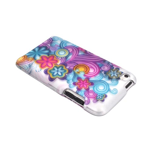 Apple iPod Touch 4 Rubberized Hard Case - Purple/ Turquoise Floral Burst on Silver