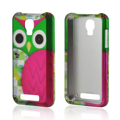 Hot Pink/ Green Owl Rubberized Hard Case for ZTE Engage