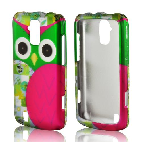 Hot Pink/ Green Owl Rubberized Hard Case for ZTE Force 4G LTE