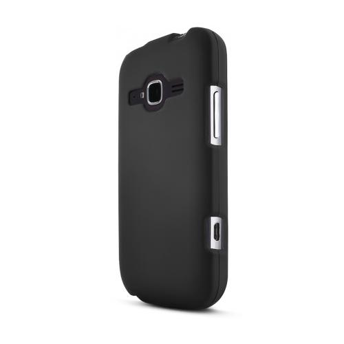 Black ZTE Concord 2 Matte Rubberized Hard Case Cover; Perfect fit as Best Coolest Design Plastic Cases