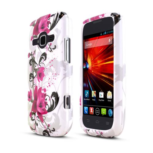 Magenta Flowers on White ZTE Concord 2 Hard Case Cover; Perfect fit as Best Coolest Design Plastic Cases