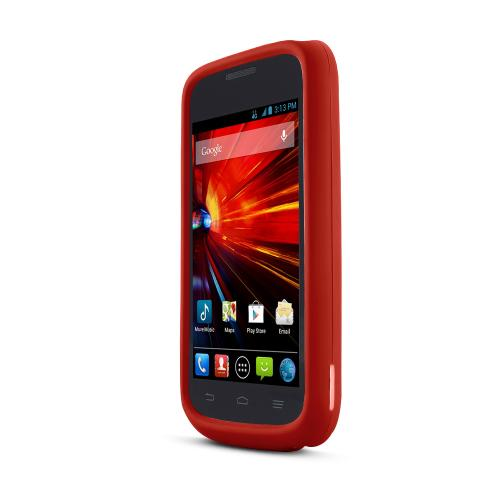 Red ZTE Concord 2 Matte Rubberized Hard Case Cover; Perfect fit as Best Coolest Design Plastic Cases
