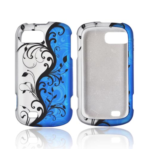 ZTE Fury N850 Rubberized Hard Case - Black Vines on Blue/ Silver