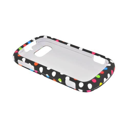ZTE Fury N850 Rubberized Hard Case - Rainbow Polka Dots on Black